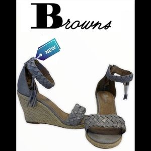 Brown's Gray silver speckled espadrilles Sz37
